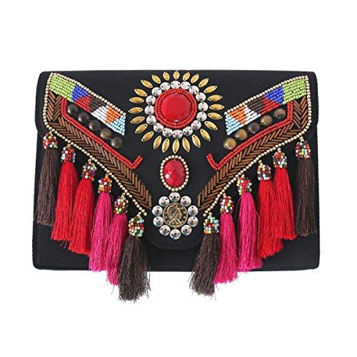 Quaste Umhängetasche Diagonal Kreuz Handtaschen Ethnischen Stil Abendtasche
