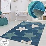 Kinderzimmer Teppich Mädchen Jungen | Fröhliche Schmetterling Sterne Blumen Motive fürs Jugendzimmer | Öko Tex 100 Schadstoffgeprüft (Blaue Sterne - 80 x 150 cm)