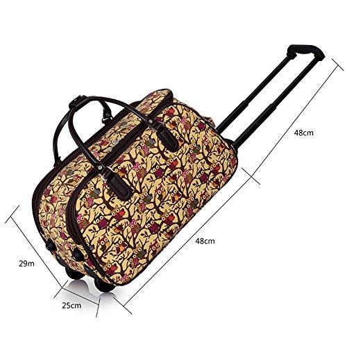 TrendStar Damen Reisetasche Taschen Handgepäck Frauen Schmetterling Wochenende rollig Handtasche A - Beige