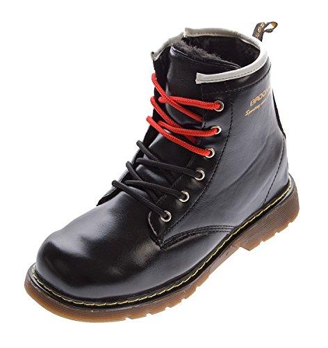 Kinder Knöchel Schuhe Winter Lack Leder Schnürer Jungen Mädchen warm gefüttert Outdoor Boots Gr. 32 - 37 Schwarz