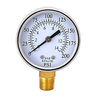Awakingdemi Water Pressure Gauge, Air Pressure Gauge,1/4 inch NPT Side Mount inchFace 10Bar Compressor Compressed Air Pressu