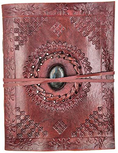 Kooly Zen Notizbuch, Notizblock, Tagebuch, Echtleder, Vintage, Labradorit, 13 cm x 17 cm, 240 Seiten, Premiumpapier