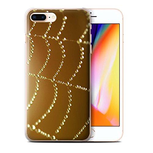 Stuff4 Hülle / Case für Apple iPhone 8 Plus / Rosa Muster / Spinnen Netz Perlen Kollektion Orange