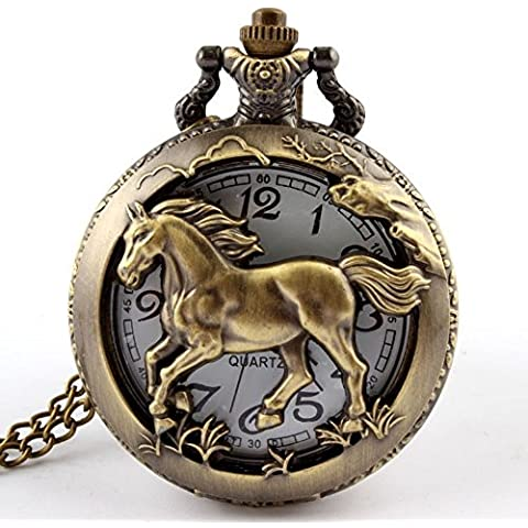 vear Orologio Uomo Cinese Zodiaco animale al quarzo orologio da tasca collana (serpente), Uomo, Horse, Taglia unica