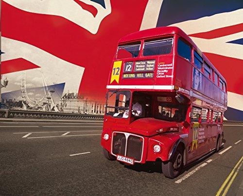 posterdepot Fototapete London - Red Bus & Union Jack - Größe 315 x 232 cm, 4-teilig -