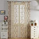 Top Finel Geometrischen Würfel Vorhang wohnzimmer gardinen kinderzimmer aus Voile mit Ösen 1 Stück BxH: 300 x 250 cm Braun