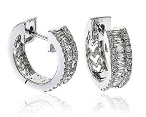 0.65CT Certified G/VS2 Baguette and Round Brilliant Cut Half Eternity Diamond Hoop Earrings in 18K White Gold