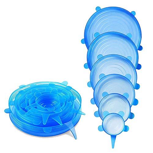 HelpCuisine Tapas de silicona elásticas/Tapadera flexible extensible, 6 varios tamaños, 24 meses de Garantia!