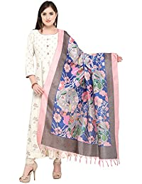 Applecreation Women'S Khadi Silk Dupatta(Blue And Light Pink_Free Size)