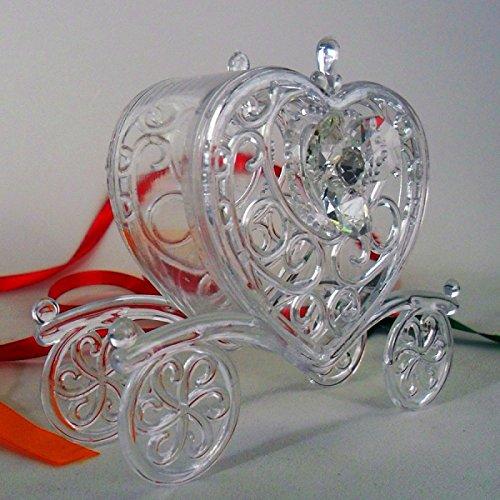 Bomboniere (2 bomboniere) scatolina carrozza con fiore in cristallo e punto luce