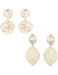 Om Jewells Fashion Jewellery combo of 2 rose gold plated exquisite dangler earrings with crystal stones for girls and women CO1000141