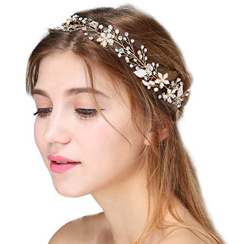 Coucoland Braut Haarband Blumen Perlen Satin Band Zweig Muster Vintage Braut Haarschmuck Braut Hochzeit Accessoires Stirnband (Gold)