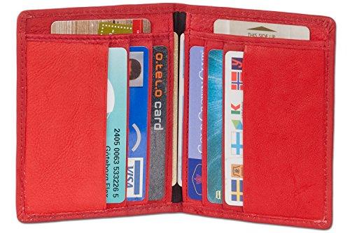 Rimbaldi® Ausweis-/Kreditkartenetui für 6 Kreditkarten und 4 Ausweise aus weichem, naturbelassenem Rindsleder in Rot, Rot
