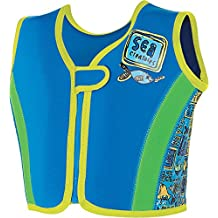 Zoggs Niños - chaqueta para nadar en mar profundo, Niños, Deep Sea Swim Jacket, Blue/Multi-Colour, 4-5 Años