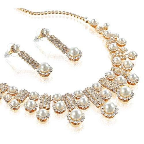 Gioielli da Sposa Matrimonio Set interamente rivestito con cristalli Swarovski e perle. Simmetrico Tapered collana lunga stile con Dangling Orecchini in coordinato. Il perfetto set di gioielli., Avorio su oro 14 k, colore: Gold, cod. j10441