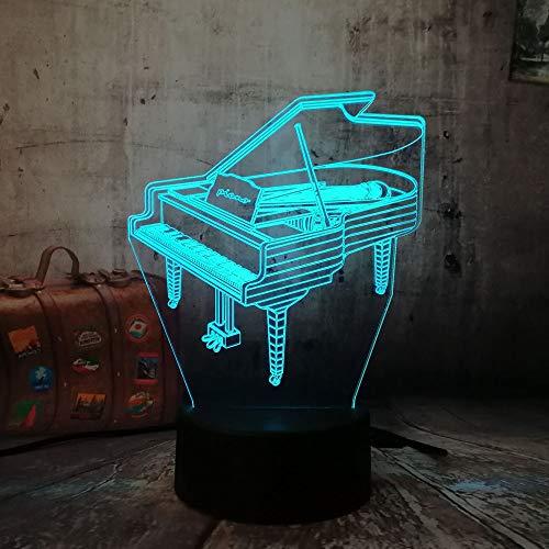 RQMQRL Romantische 3D Led Klavier Nachtlicht 7 Farbwechsel Drahtlose Taschenlampe Kinder Schlafzimmer Wohnkultur Für Weihnachtskind Geschenk