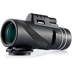 Monoculaire 40x60 Télescope Haute Puissance Zoomable Optique Vision Nocturne Basse Lumière Jumelles Anti-Brouillard/Pluie Idéal pour l'Observation des Oiseaux, Sports, Concerts, Voyages, 500m/9500m