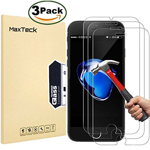 [3 Pièces] Verre Trempé iphone 8 Plus / 7 Plus, MaxTeck Film Protection en Verre trempé écran Protecteur Vitre- ANTI RAYURES - SANS BULLES D'AIR -Ultra Résistant Dureté 9H pour iphone 8 Plus / 7 Plus - Compatible 3D Touch