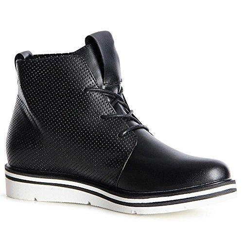 topschuhe24 1103 Damen Stiefeletten Boots Derby Schwarz