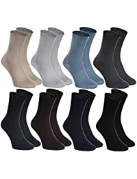 8 pairs of NON-BINDING Socks for DIABETICS by Rainbow Socks - Health COTTON Loose Non-Elastic Socks for SWOLLEN FEET and VARICOSE VEINS - Comfortable and Delicate - for Men and Women, Made in EUROPE