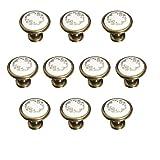 FBshop - Lote de 10 pomos de cerámica francesa, 32mm, pintados a mano, diseño floral, redondos, para armarios y cajones