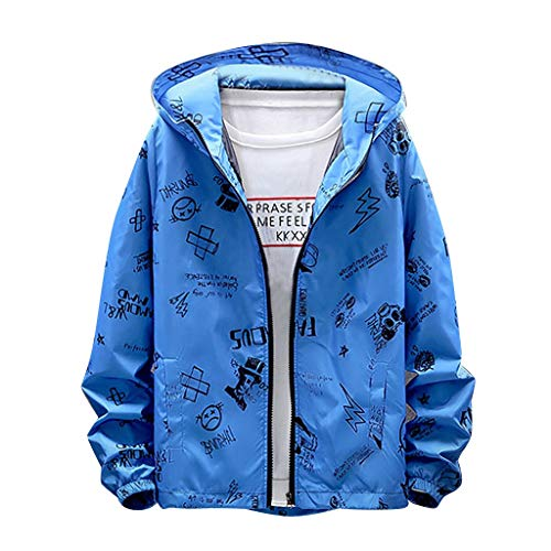 yazidan Herren Hoodie Windjacke mit Kapuze Drucken Jacke Coat Streetwear Kapuzenjacke Übergangsjacke -