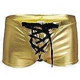 YiZYiF Herren Boxershort Wetlook Lack Leder Unterwäsche Trunks Stretch Briefs reizvolle Badehose Gold M