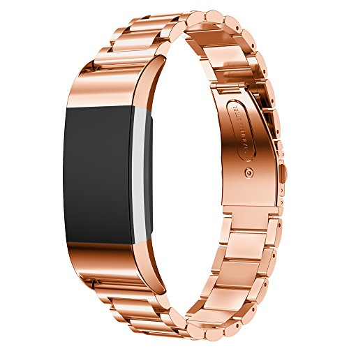 Elobeth für Fitbit Charge 2 Armband, Edelstahl Replacement Wrist Band Uhrenarmband mit Metallschließe Uhrenarmband für Fitbit Charge 2