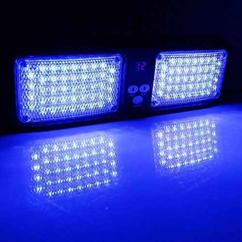 VGEBY Auto 12V 86 LED Sonnenblende Strobe-Blitzlicht Notfall-Warnlampe ( Farbe : Blau ) (Blaue Led Rückseite Licht-lampen)