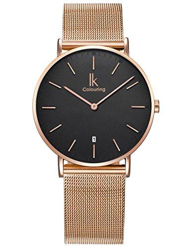 Alienwork Herren Damen Armbanduhr Quarz Rose-Gold mit Milanaise-Mesharmband Edelstahl Kalender Datum schwarz Ultra-flach Slim-Uhr