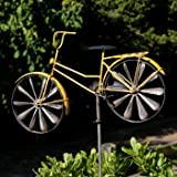 CIM Metall Windrad - Bicycle Yellow - Wetterfest, mit Antik-Effekt - Windräder: Ø18cm, Motiv:...