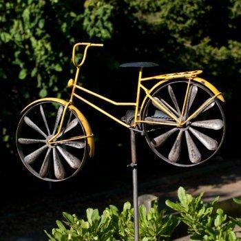 En métal grand style coloré fan avec typographie intéressant bicycle jaune résistant aux intempéries avec motif effet vieilli équipé : hauteur : 51 x 32 cm-hauteur : 160 cm-avec standstab