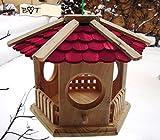 Vogelhaus, Futterhaus, Holz massiv, NATUR-Vogelhäuser in PREMIUMQUALITÄT, kleines Vogelfutterhaus in Größe 25 cm ro