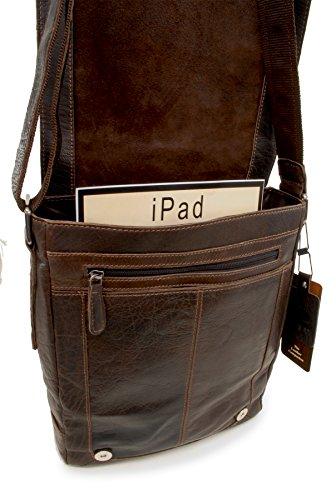 """Umhängetasche / für Laptop / iPad A4 """"8342"""" von Ashwood - GRÖßE: B: 25 cm, H: 31 cm, T: 8 cm Braun"""