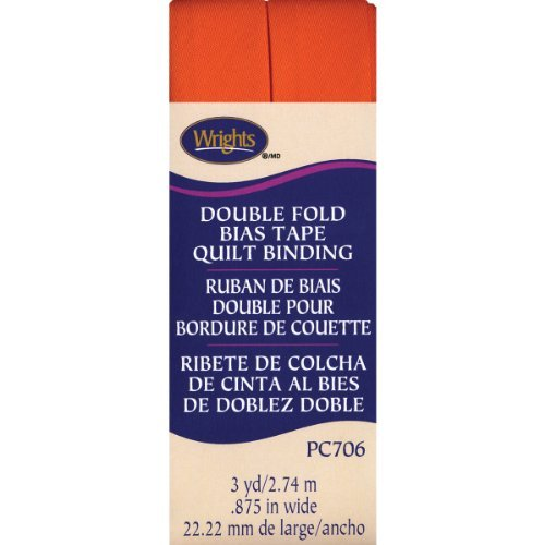 Wrights Double Fold Quilt Binding, 7/8 by 3-Yard, Orange by Wright Products -