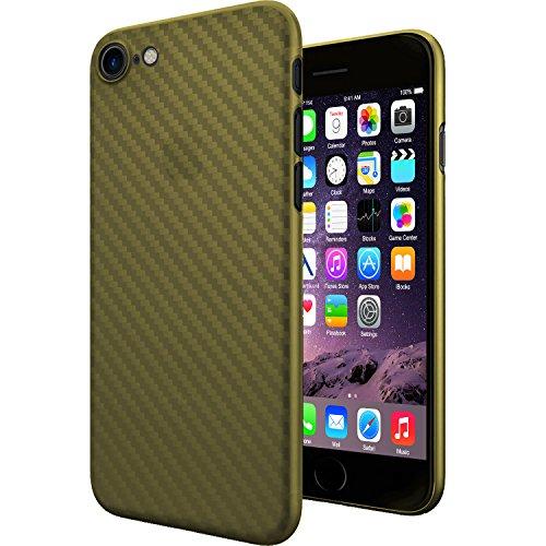 Original TheSmartGuard iPhone 8 & 7 Hülle Case Schutzhülle im Carbon Fiber Look / Kohlefaser Optik (4,7 Zoll) - Ultra-Slim / Ultra-dünn - NEU mit integriertem Schutz für die Kamera-Linse - Farbe schwa Carbon Look Gold