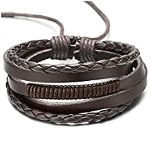 COOLSTEELANDBEYOND Men Women Hand-Made Multi-Strand Brown Braided Leather Wristband Bracelet with Brown Cotton Rope