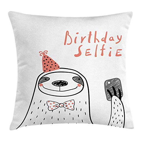 MLNHY Birthday Throw Pillow Cushion Cover, Sloth Self Portrait Smiley Face with a Bow Tie Click Shoot Speckles Hand Drawn, Decorative Square Accent Pillow Case, Multicolor,24 X 24 Inches Holiday Plaid Bow Tie