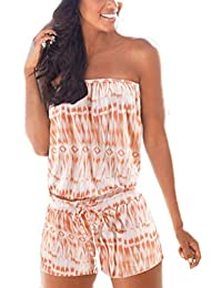 Damen Overall Kurz Sommer Jumpsuits Elegante Mode Vintage Ärmellos  Schulterfrei Bandeau Aufdruck Elastisch Bund Playsuit Jumpsuit e9f2c3ae4e