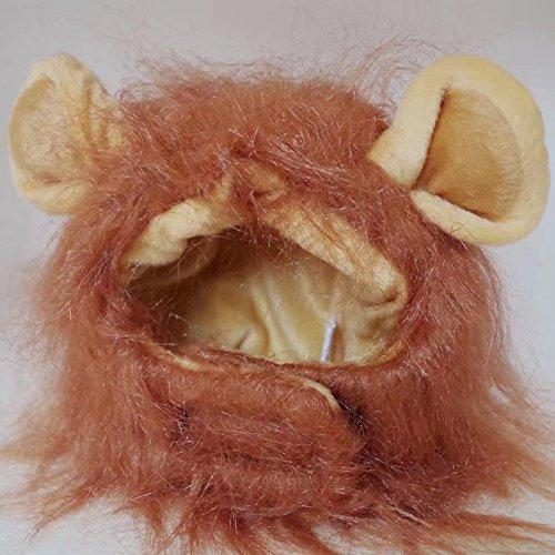 Halloween de mascotas Disfraz, León crines de caballo con orejas, para perros/gatos, marrón oscuro