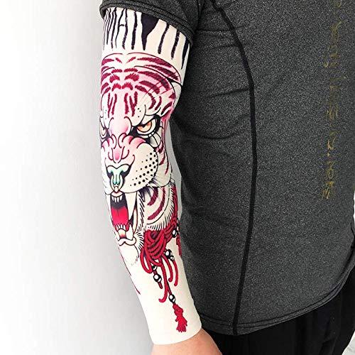 JinRui-Sport Tattoo Sleeve Tattoo Ärmel Sonnencreme Arm Blume Arm Ärmel, L, schwarz YD-512 Katze König Tiger Kopf 2 (Der König Und Ich Kostüm)
