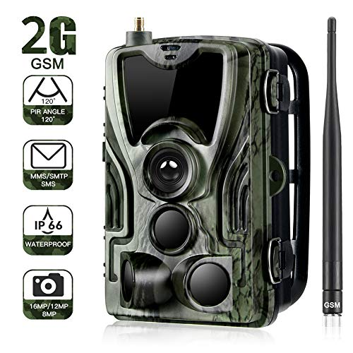 SUNTEKCAM 2G Cámara de Caza 16MP 1080P Cámara de vigilància de la Vida Silvestre, Impermeable IP66 Trail Cámara,Invisible Visión Nocturna Distancia de Disparo hasta 20M,HC800M