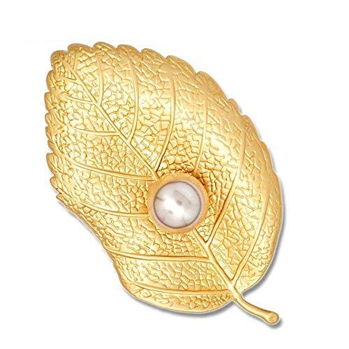 Traditionelle Gold Leaf (MingXinJia Mode Broschen Pins Damen Matte Gold Leaf Perle Brosche Boutonniere Boutique Kleidung Zubehör für Frauen und Mädchen)