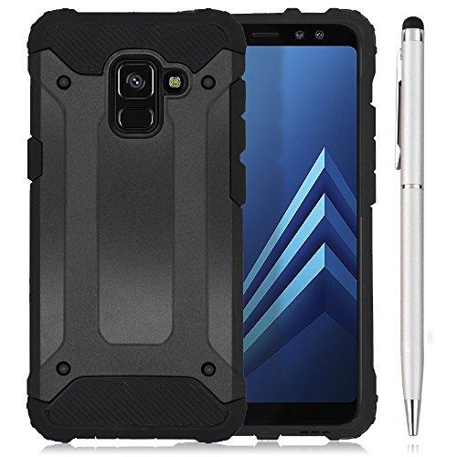 Hcheg 2in1 Zubehör Set: Hybrid Outdoor Hülle für Samsung Galaxy A8 2018 Duos (A530F/DS) - Dual TPU Silikon Hard Case Schwarz Handy Hard Cover +1 x Stylus Touch Pen Silber