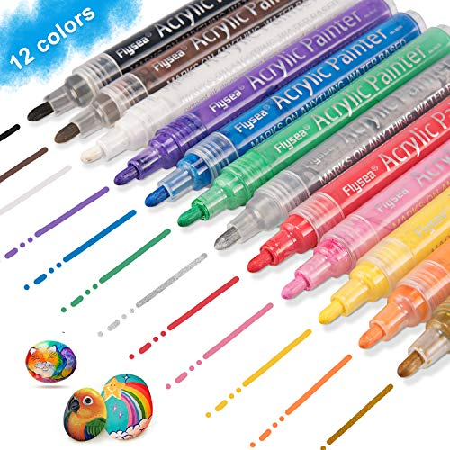Características: 1. Rotuladores de pintura acrílica de 12 colores: Incluye rojo, amarillo, blanco, plata, marrón, azul, naranja, púrpura, negro, rosa, dorado, verde, múltiples colores para tu selección. 2. Secado rápido: Se seca muy rápido y no manch...
