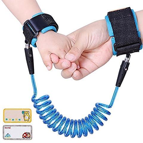 Lictin Anti-perdu des Bébés Bracelet de Sécurité Enfant Harnais de Sécurité des Enfants avec Connecteur Rotative et 2 Autocollants de Nom