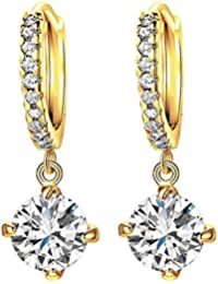 [Sponsored Products]Nakabh Austrian Crystal Golden Clip On Earrings For Women And Girls