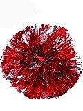 2 Piezas de Pompones de Animadora Bola de Flor Metálica Pompones de Anillo de Plástico para Grupo de Animadores y Baile (Rojo y Plata)