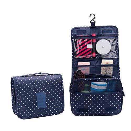 sztara tragbar bedruckt Kosmetik Make-up Bag Aufhängen Kulturbeutel Tasche Travel Kit Großes Fassungsvermögen Organizer Blau Navy Blue Dot (Kits Up Make Große)