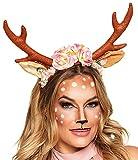 erdbeerclown - Damen Weihnachts Kopfbedeckung Funartikel - Rentier Geweih Haarreif Muerte Tiara, Mehrfarbig
